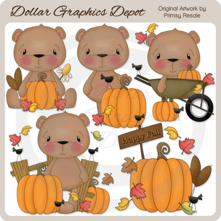 Fall Bears 3 - Clip Art
