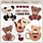 Coffee Time Teddies - Clip Art