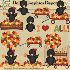 Fall Crows 1 - Clip Art