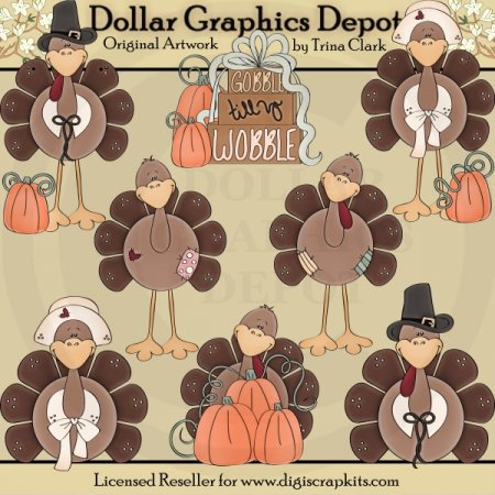 Thanksgiving Turkeys 2 - Clip Art