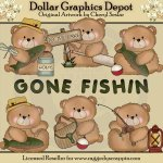 Boo Bears Gone Fishin - Clip Art