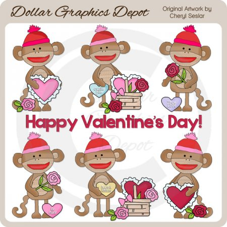 Valentine Sock Monkeys - Clip Art - *DGD Exclusive*