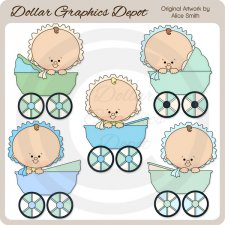 Baby Carriage Boys - Clip Art