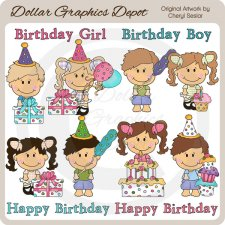 Little Cuties - Birthday Party - Clip Art