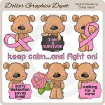 Scruffy Bear - Breast Cancer - Clip Art