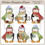 Penguin Cuties - Christmas Cookies - Clip Art