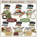 Country Snowmen - Christmas Cookies - Clip Art