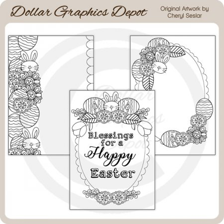 Happy Easter - Coloring Cards
