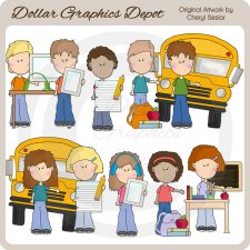Tween Kids Go To School - Clip Art