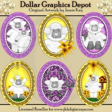 Framed Little Lambs - Clip Art�- *DCS Exclusive*