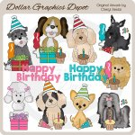 Birthday Puppies 3 - Clip Art - *DGD Exclusive*