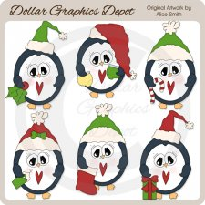 Christmas Penguins - Clip Art
