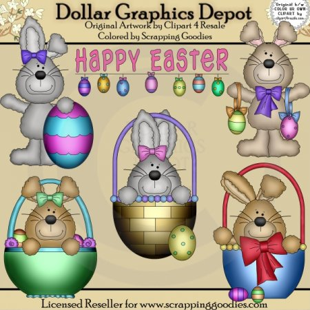 Happy Easter Bunnies - Clip Art
