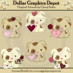 Pretty Puppy - Valentines - Clip Art