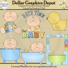 Bath Time for Baby Boy 1 - Clip Art