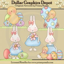 Bunnies and Chicks - Clip Art