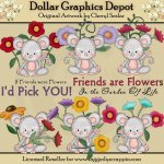 Pinky Mouse - Friendship Flowers - Clip Art