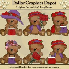 Tattered Teddies - Red Hatters