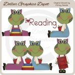 Reading Frogs - Clip Art