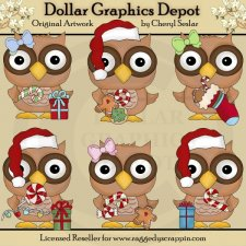 Christmas Wishes Owls - Clip Art