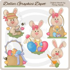 Easter Bunnies 5 - Clip Art