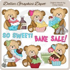 Cutesy Bears - Cupcakes - Clip Art
