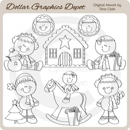 Christmas Gingers 1 - Digital Stamps