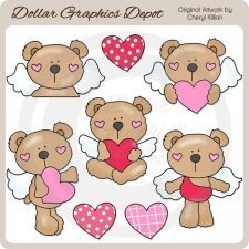 Valentine Bear Angels - Clip Art