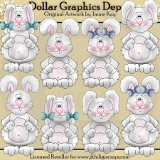 Country Bunnies - Clip Art