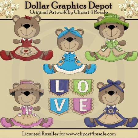Pockets of Love Bears - Clip Art - *DGD Exclusive*