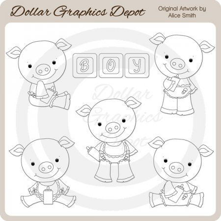 Baby Boy Piggies - Digital Stamps