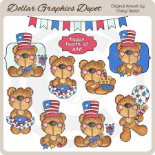 Fourth Of July Bears 1 - Clip Art