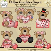 Sweet Valentine Bears - Clip Art