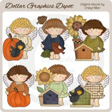 Angelica The Autumn Angel - Clip Art