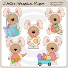 Easter Bunny Bears 1 - Clip Art