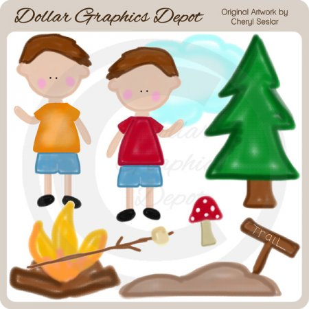 Crayon Kids - Camping Boys - Clip Art