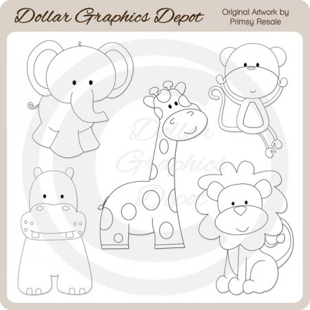 Jungle Babies - Digital Stamps