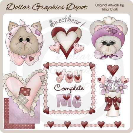 Patchwork Sweethearts - Clip Art