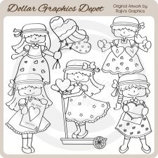 Valentine Girls 1 - Digital Stamps