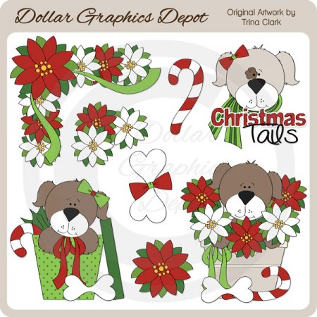 Yuletide Puppies 1 - Clip Art