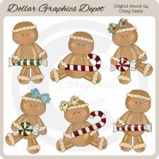 Festive Gingers - Christmas Candy - Clip Art