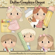 Back to School Kids 1 - Clip Art