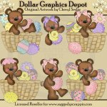 Raggedy Bears - Easter Baskets - Clip Art