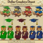 Graduation Bears and Owls - Clip Art