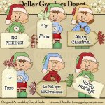 Santa's Elves Christmas Tags - Clip Art