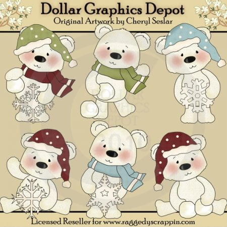 Polar Bears - Love Snow - Clip Art