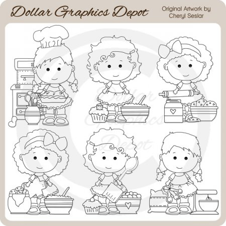 Lou Lou and Pals - Baking - Digital Stamps