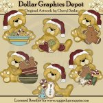 Cuddly Bears - Christmas Cookies - Clip Art