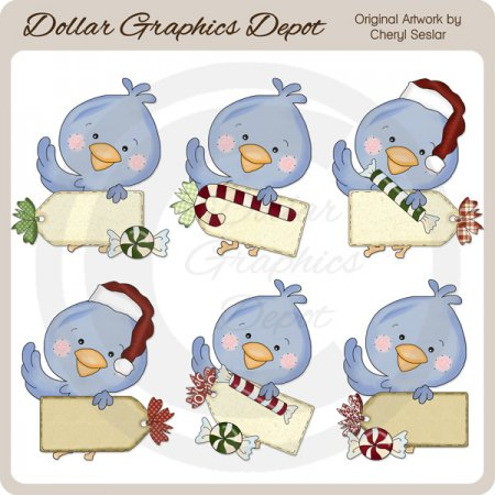Blue Bird Christmas Tags - Clip Art