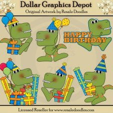 Dino-Roar Birthday - Clip Art